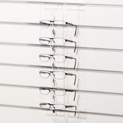 Solbrilledisplay til 6 briller for panelplademål H47 cm - klar plexiglas