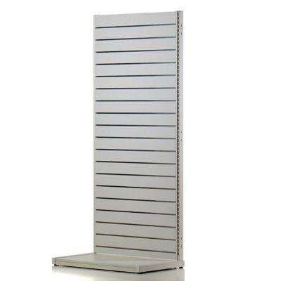 Komplet hvid vægreol med rillepanel - H200xB120 cm