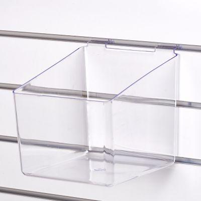 Akryl boks for rillepanel - sprøjtestøbt klar plastmål B21xD21 cm - højde 15 cm fortil og 20 cm bagtil