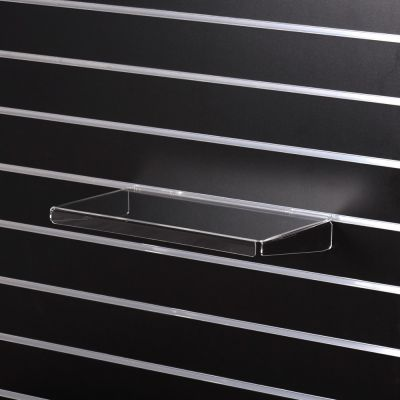 Akrylhylde i klar akryl for rillepaneler - lige med nedbukkede sider og forkantmål B40xD24 cm