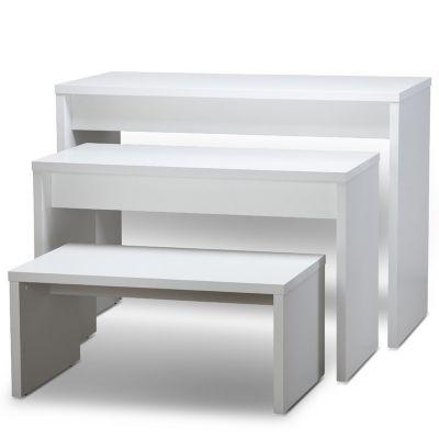 Oplægsbord som sæt - hvid melaminfolie - STÆRK PRISsættet består af 3 borde i 3 størrelsermål lille L100xB60xH45 cm - mellem L120xB60xH77 cm - stor L140xB70xH100 cm