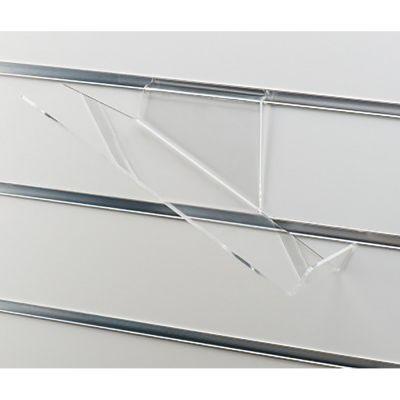 Skohylde skråtstillet med stopkant - højre version i klar akrylmål L26xD10 cm