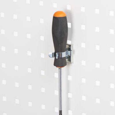 Fjederklemme for hulplader til Ø25 mm emner - overflade i zinkpasser til firkantede hulplader