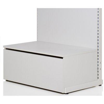 Bundpodie med skuffe i hvid melamin skuffe H37xD50 cmkan sættes på foden af vores 90 cm butiksinventar systemer