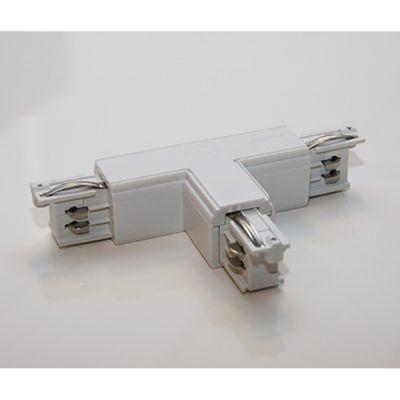 T-stykke - højre pol - udvendig hvid til sammenkobling af 3 skinner