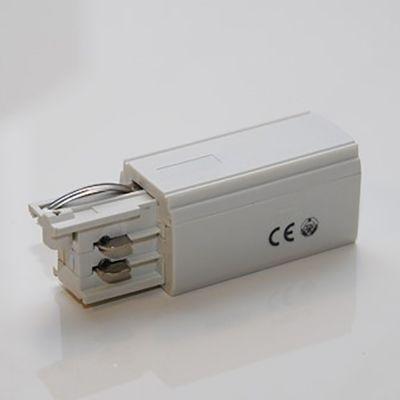 Tilslutning - hvid - højre - bruges til tilslutning af strøm på den ene ende af strømskinnen