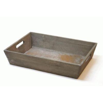 Træbakke gråmeleret | 38 x 27 x H-8 cm