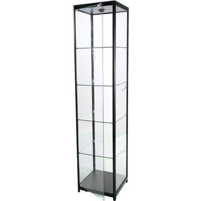 Glasmontre i elokseret aluminium og hærdet glasinkl. 4 hjul, halogenspot i top og 4 spot i sidernemål H200xB45xD45 cm