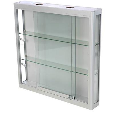 Vægmontre - vægvitrine - aluminium og hærdet glasinkl. 4 spot og lys i toppenmål H90xB90xD15 cm