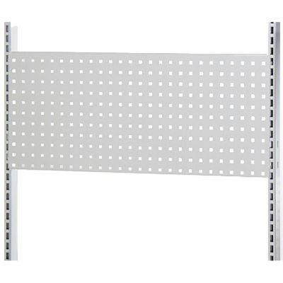 Værkstedsplade med firkantede huller i hvid lak - passer til L-søjle 237 cm og modul 90 cmmål B90xH38 cm - 3 stk pr. side