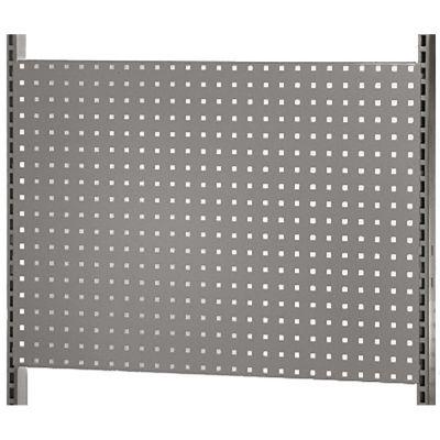 Værkstedsplade med firkantede huller - gråmål H64xB90 cm - passer til L-søjler 202 og 237 cm