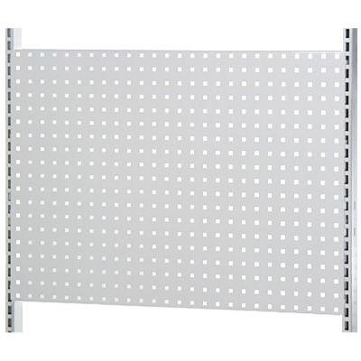 Værkstedsplade med firkantede huller i hvid lak - passer til L-søjle 202 cm og modul 90 cmmål B90xH64 cm - 3 stk pr. side