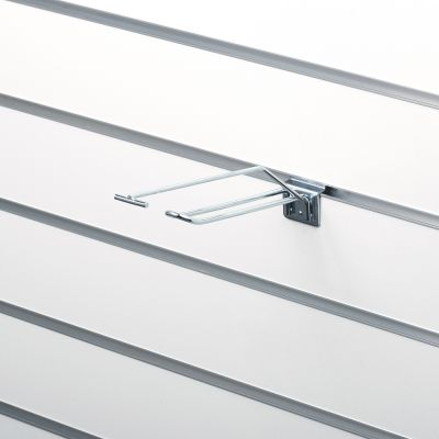 Dobblet-krog m/prisarm 15 cm t/slatwall
