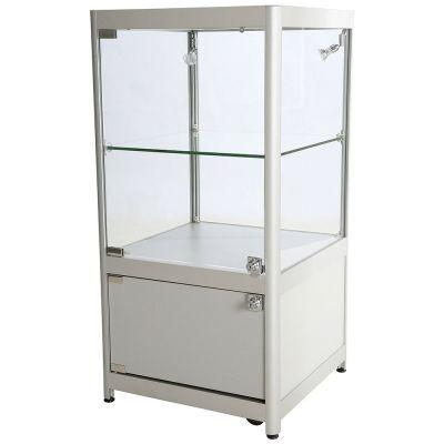 Glasmontre med skab i aluminium, hærdet glas og melamin - inkl. 4 hjul, 2 halogenspotmål H90xB45xD90 cm