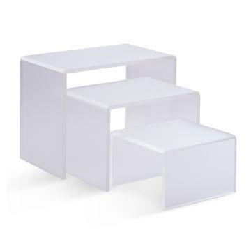 Akryl kasse & deko trappe i mat plast |