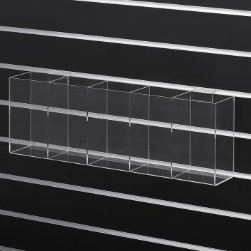 Akrylkasse - Slatwall box med 5 rum |