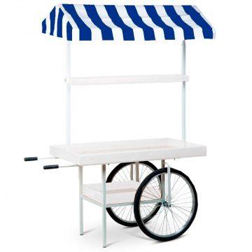 Markedsvogn i blå hvid - stribet markise<br />hvid lakerede trærammer<br />mål H205xB75xL150 cm