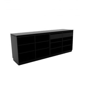 Butiksdisk med sort korpus - 2 diske længde 120 cm - 2 skuffer 90 cm<br />mål samlet længde 240 cm - diskdybde 60 cm - højde 92,5 cm