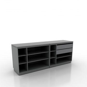Butiksdisk med grå korpus - 2 diske længde 120 cm - 2 skuffer 90 cm<br />mål samlet længde 240 cm - diskdybde 60 cm - højde 92,5 cm