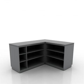 Butiksdisk med grå korpus - vinkelformet - 1 hjørnesektion - 1 disk 90 cm - 1 disk 120 cm<br />mål udvendig 180x150 cm - diskdybde 60 cm - højde 92,5 cm