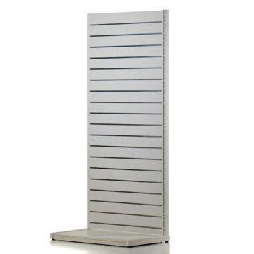 Komplet hvid vægreol med rillepanel - H240xB120 cm
