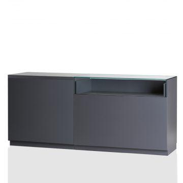 Butiksdisk i grå inkl. topplade i grå slidstærk laminat - 1 disk 90 cm - 1 disk 120 cm med glas<br />mål L210xD60xH92,5 cm