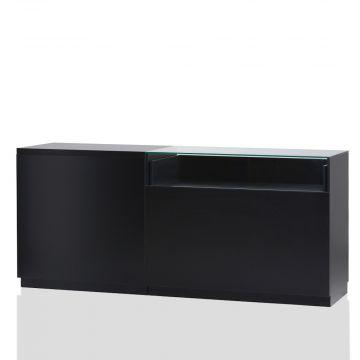Butiksdisk i sort inkl. topplade i sort slidstærk laminat - 1 disk 90 cm - 1 disk 120 cm med glas<br />mål L210xD60xH92,5 cm