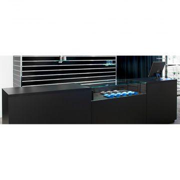 Disk opsætning i sort udførsel med glas - længde 330 cm