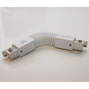 Fleksibel hjørne sammenkobling i hvid - 230 Volt til sammenkobling af 2 skinner