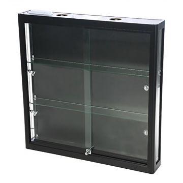 Vægmontre - vægvitrine - sort aluminium og hærdet glas<br />inkl. 4 spot og lys i toppen<br />mål H90xB90xD15 cm