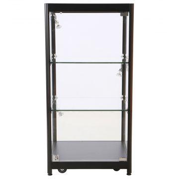 Bordmontre inkl. lys - sort aluminium og hærdet glas<br />inkl. 4 hjul, 3 spot og 2 glashylder<br />mål H90xB45 cm