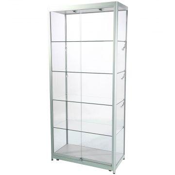 Glasmontre i elokseret aluminium og hærdet glas - inkl. 4 hjul, halogenspot i top og 6 spot i siderne<br />mål H200xB90xD45 cm