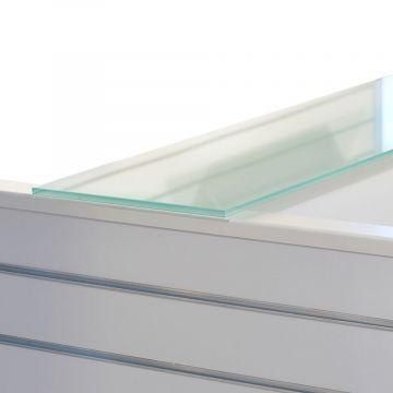Top glasplade for 3 gulvfag - fremstillet i kraftig 'sandblæst' glas inkl. 7 anslagsdæmpere