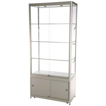 Glasmontre med skab i aluminium og hærdet glas<br />inkl. 4 hjul, halogenspot i top og 6 spot i siderne<br />mål H200xB90xD45 cm