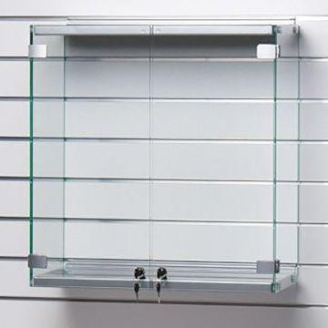 Vitrineskab for panel - Glasskabet er i metal og grå lak<br />mål H62,5xB89,5xD27 cm