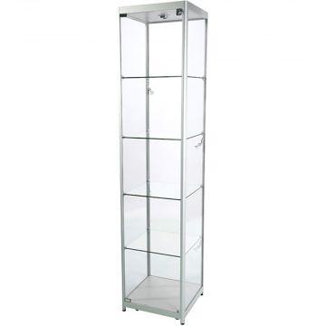 Glasmontre i elokseret aluminium og hærdet glas<br />inkl. 4 hjul, halogenspot i top og 4 spot i siderne<br />mål H200xB45xD45 cm