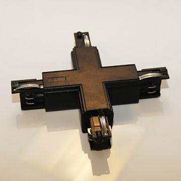 Samlestykke kryds til 4 skinner i sort - 230 Volt - 90 gr vinkelret til 4 skinner