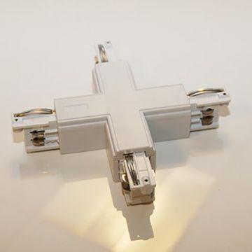 Samlestykke kryds til 4 skinner i hvid - 230 Volt - 90 gr vinkelret til 4 skinner