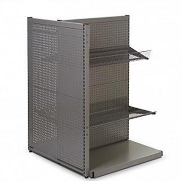 Gulvreol i værkstedsplade - grå med firkant huller inkl. trådhylder og varekroge<br />mål H135xB90 cm