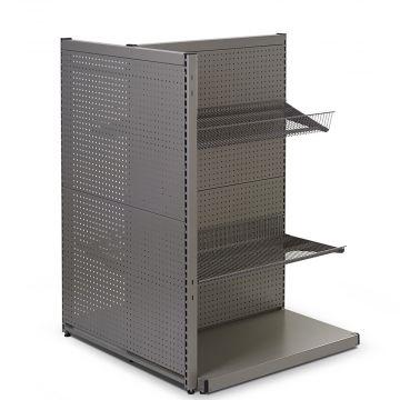 Butiksgondol med hullet bagplade - runde huller - mørk grå pulverlakeret metallic lak<br />mål højde 140 cm - modulbredde 90 cm