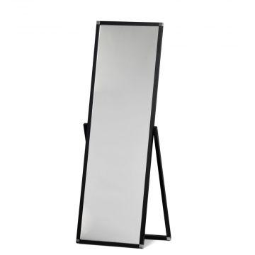 Gulvspejl sort stel - spejlet kan stilles i den vinkel du ønsker<br />indvendigt mål H150xB50 cm - udvendigt mål H180xB55 cm