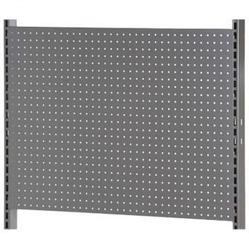 Bagplade med runde huller - passer til L-søjle 202 cm - grå metallic lak<br />mål H66xB90 cm - 3 plader pr modul
