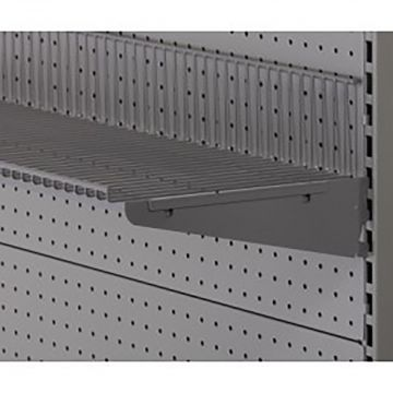 Hyldeknægte i grå pulverlakeret metallic lak for trådhylde<br />mål L 30 cm - deling 32 mm