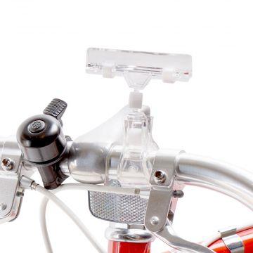 Skilteklemme til prisskilt - for cykelstyr - klar plast<br />mål B 8 cm - kan kun købes i kolli á 10 stk.