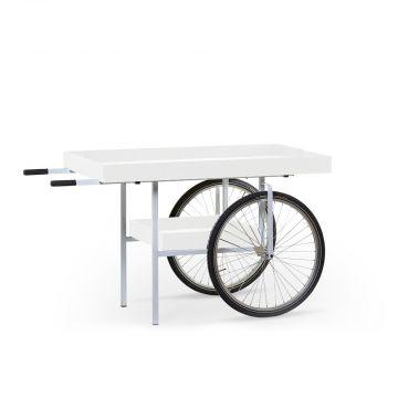 Markeds vogn med hjul | Hvid