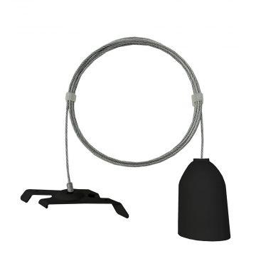 Wire inklusiv ophæng til loft - sort<br />til montering af strømskinner - wire er 1,5 m lang