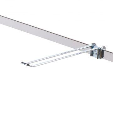 Varekrog dobbelt - 27 mm bred udvendig på spyddet<br />mål L25 cm - trådtykkelse Ø5 mm - passer til 6 mm skinne
