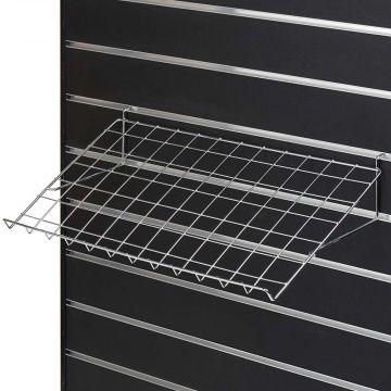 Brochurehylde til panel - metaltråd i chrom overflade - mål B60xD30,5 cm