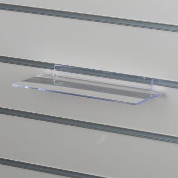 Skohylde lige uden forkant til panelplader - klar akryl - mål L25xD11 cm
