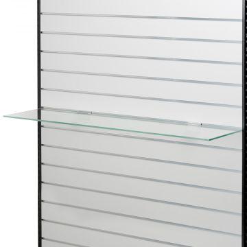 Glashylde til rillepanel - 3 stk. hyldebærer pr. hylde anbefales<br />mål L120xD26,5 cm - glastykkelse 8 mm